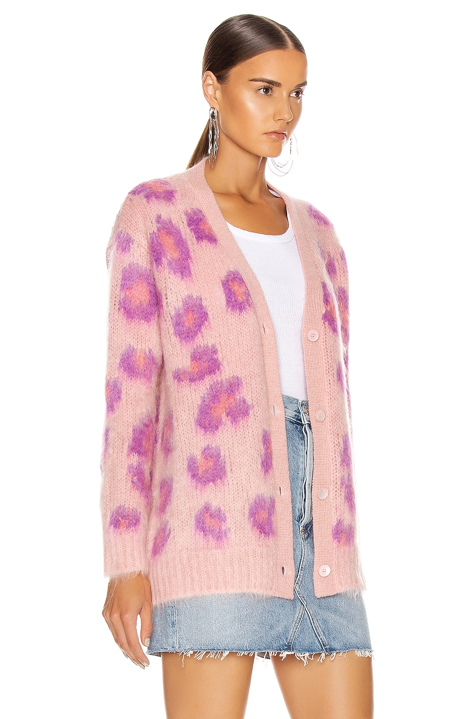 Image 3 of Miu Miu Leopard Cardigan in Pink