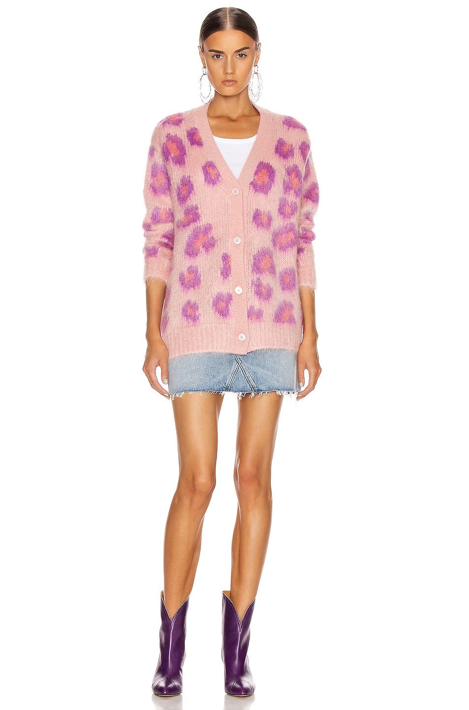 Image 6 of Miu Miu Leopard Cardigan in Pink