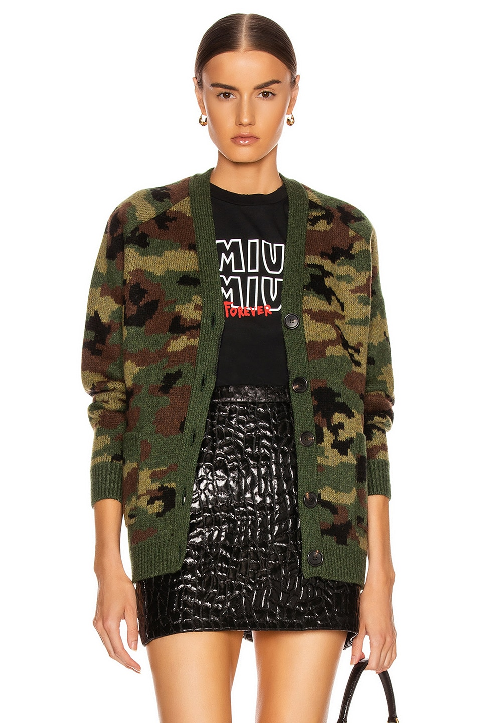 Image 1 of Miu Miu Oversized Cardigan in Camo