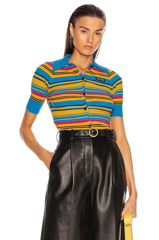 Image 1 of Miu Miu Short Sleeve Cardigan in Turchese