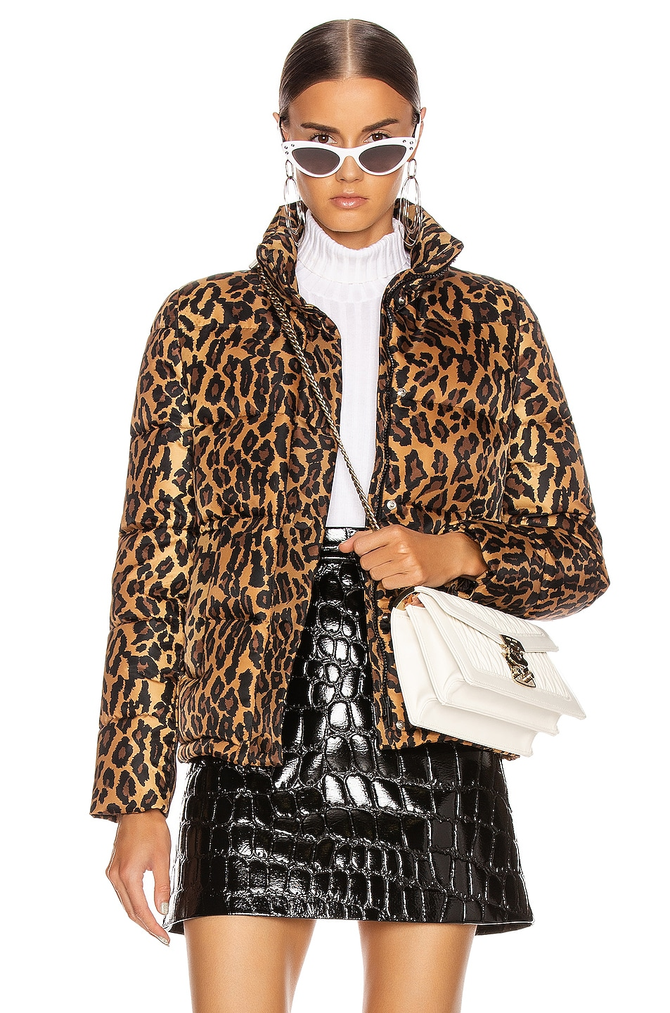 Image 1 of Miu Miu Leopard Puffer Jacket in Khaki