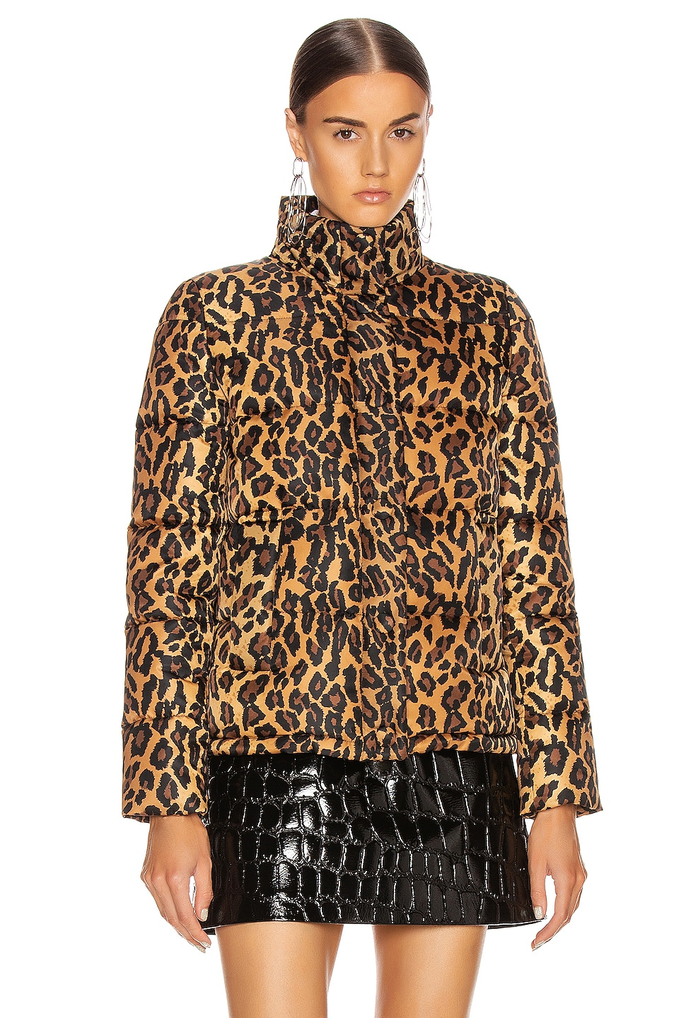 Image 2 of Miu Miu Leopard Puffer Jacket in Khaki