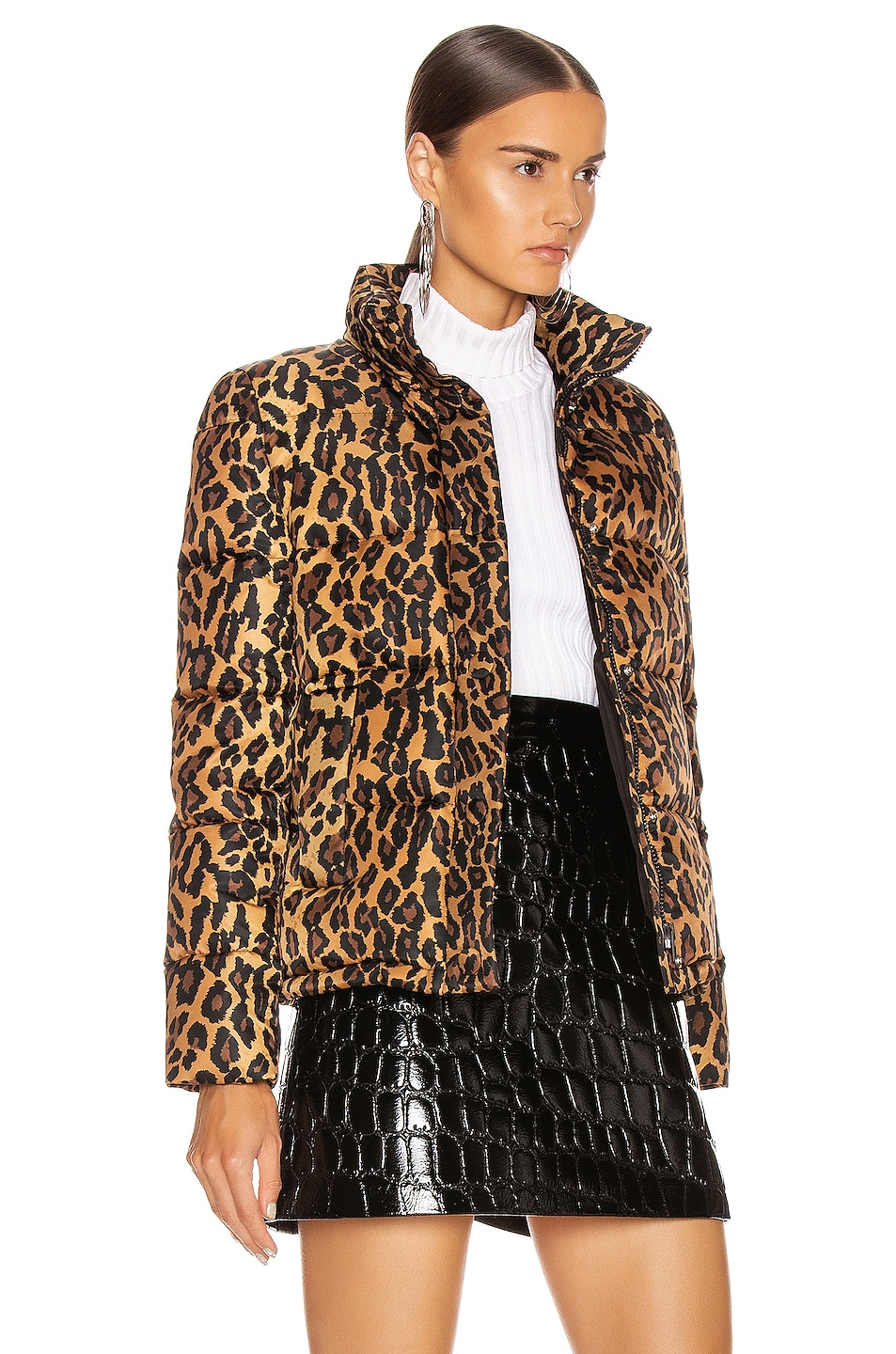Image 3 of Miu Miu Leopard Puffer Jacket in Khaki