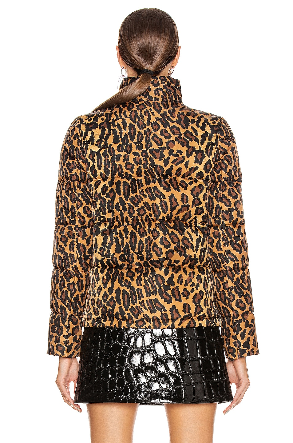 Image 4 of Miu Miu Leopard Puffer Jacket in Khaki