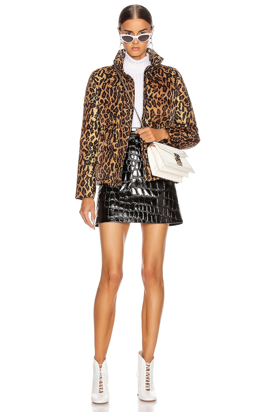 Image 5 of Miu Miu Leopard Puffer Jacket in Khaki