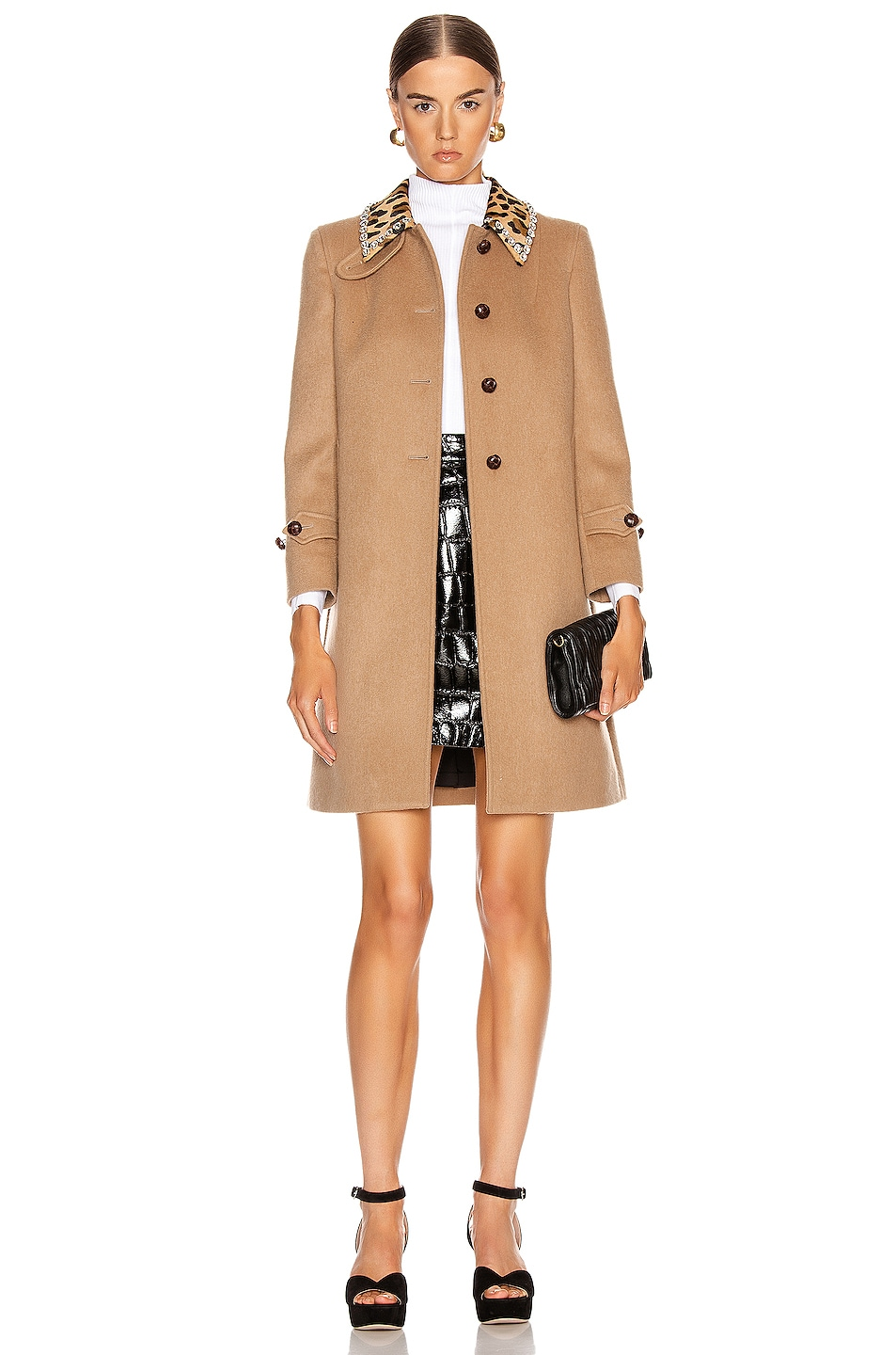 Image 1 of Miu Miu Button Coat in Camel