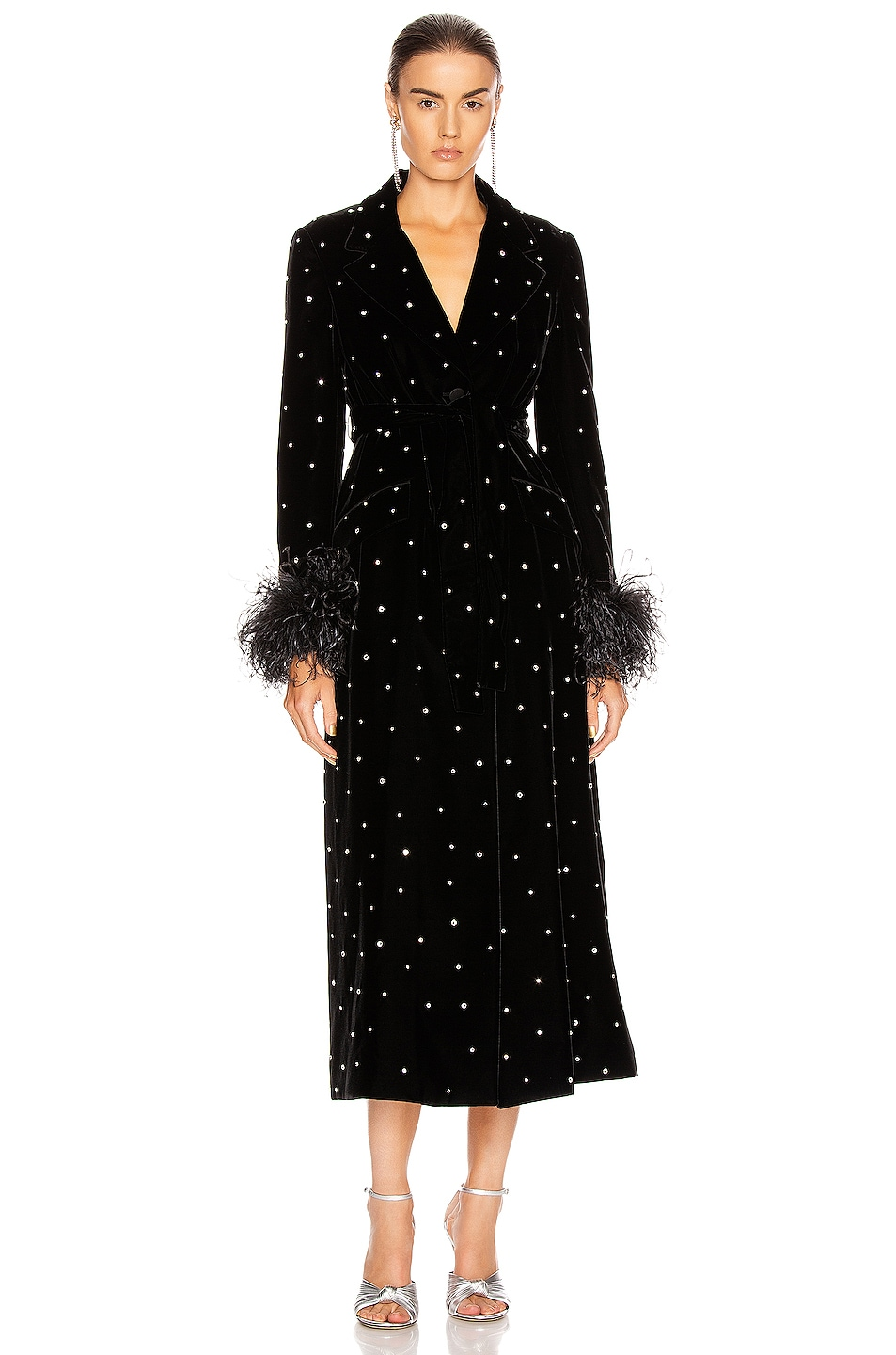 Image 1 of Miu Miu Velvet Embroidered Long Jacket in Black