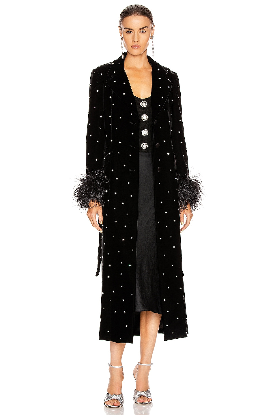 Image 2 of Miu Miu Velvet Embroidered Long Jacket in Black