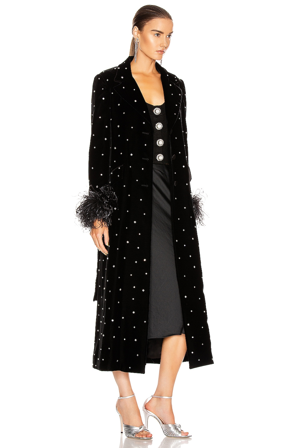 Image 3 of Miu Miu Velvet Embroidered Long Jacket in Black