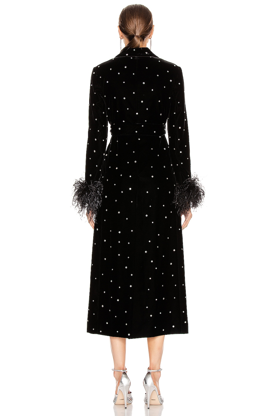 Image 4 of Miu Miu Velvet Embroidered Long Jacket in Black