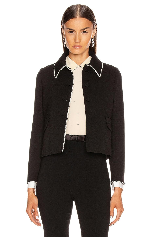 Image 1 of Miu Miu Long Sleeve Jewel Jacket in Black