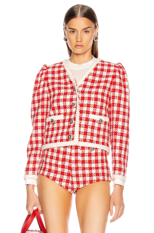Image 1 of Miu Miu Tweed Jacket in Ivory & Red