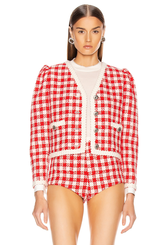 Image 2 of Miu Miu Tweed Jacket in Ivory & Red