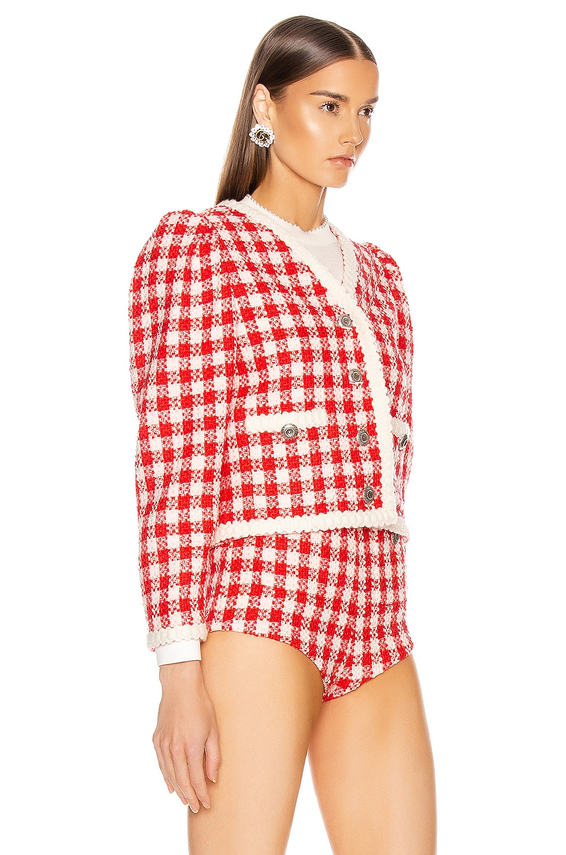 Image 3 of Miu Miu Tweed Jacket in Ivory & Red