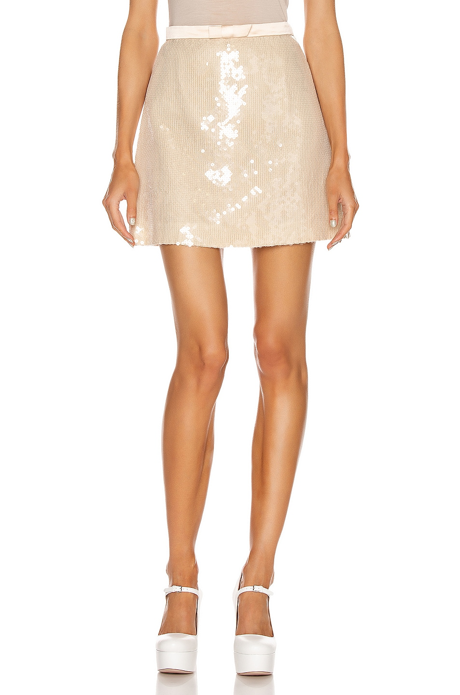 Image 1 of Miu Miu Sequin Mini Skirt in White