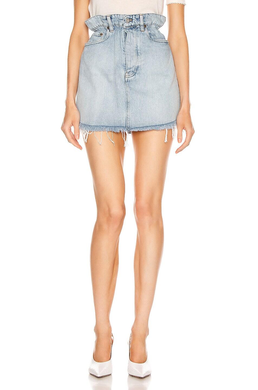 Image 1 of Miu Miu Frayed Denim Mini Skirt in Light Wash