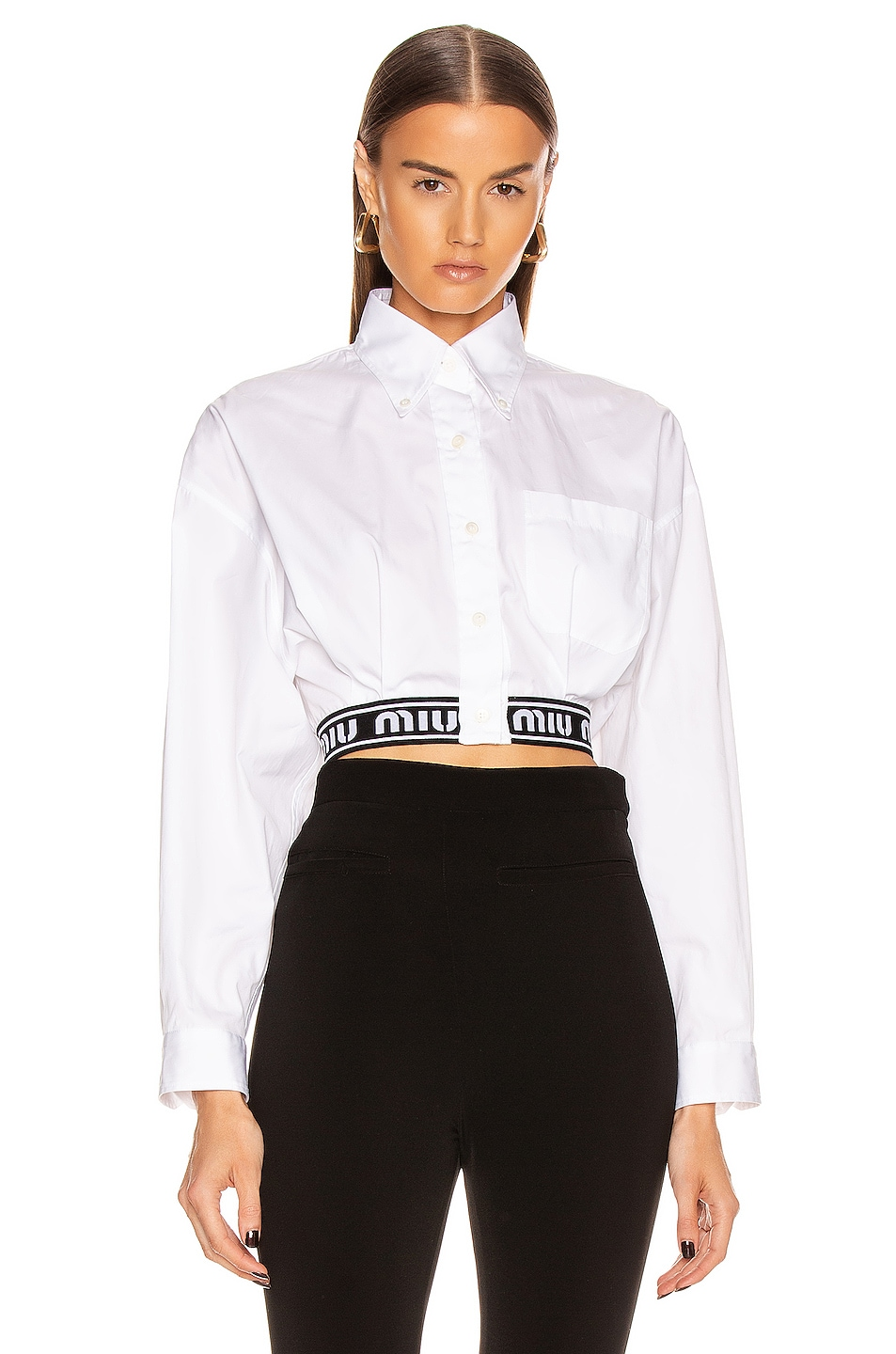Image 1 of Miu Miu Crop Logo Button Up Top in White