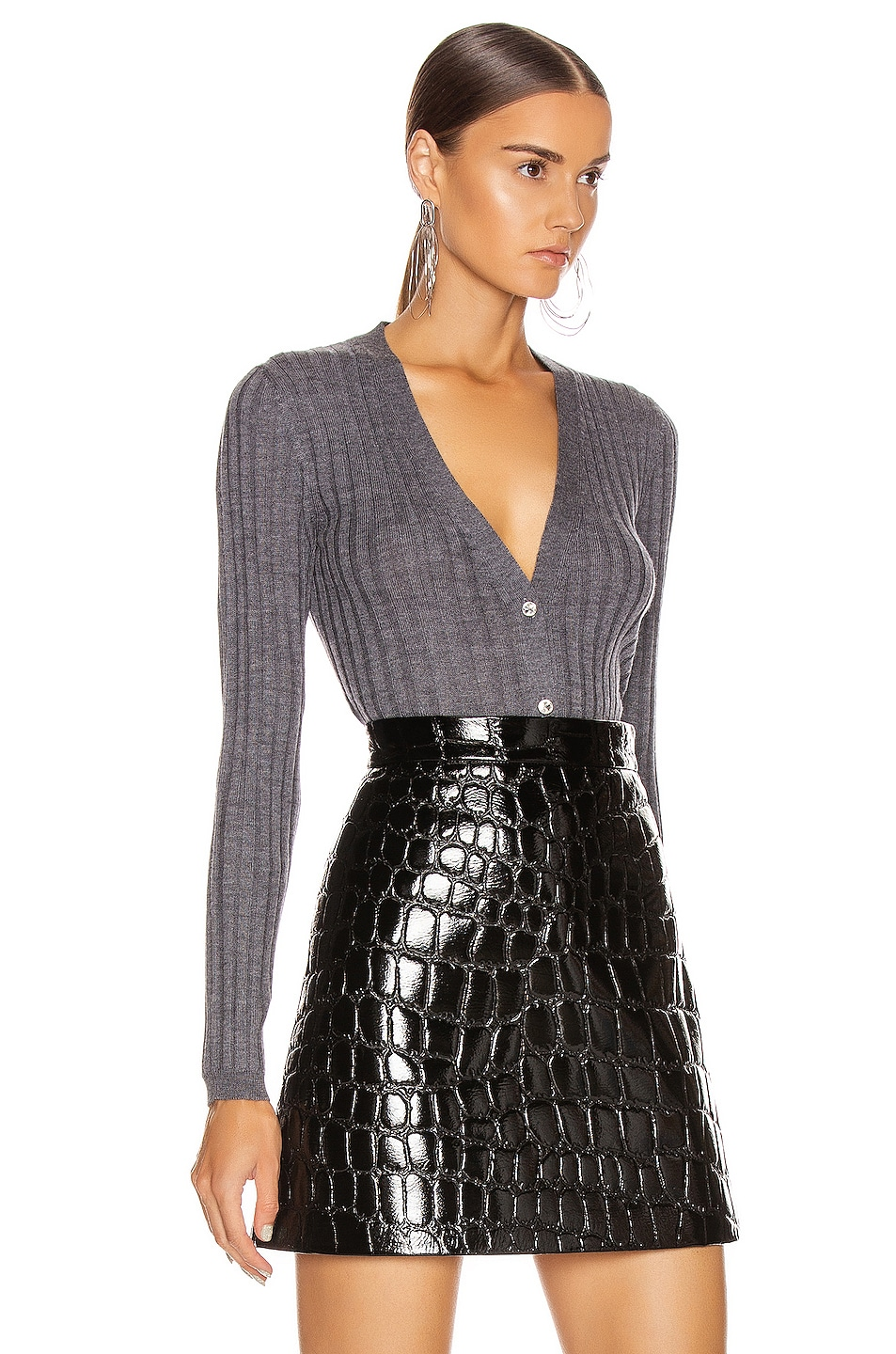 Image 3 of Miu Miu Long Sleeve Top in Ardesia