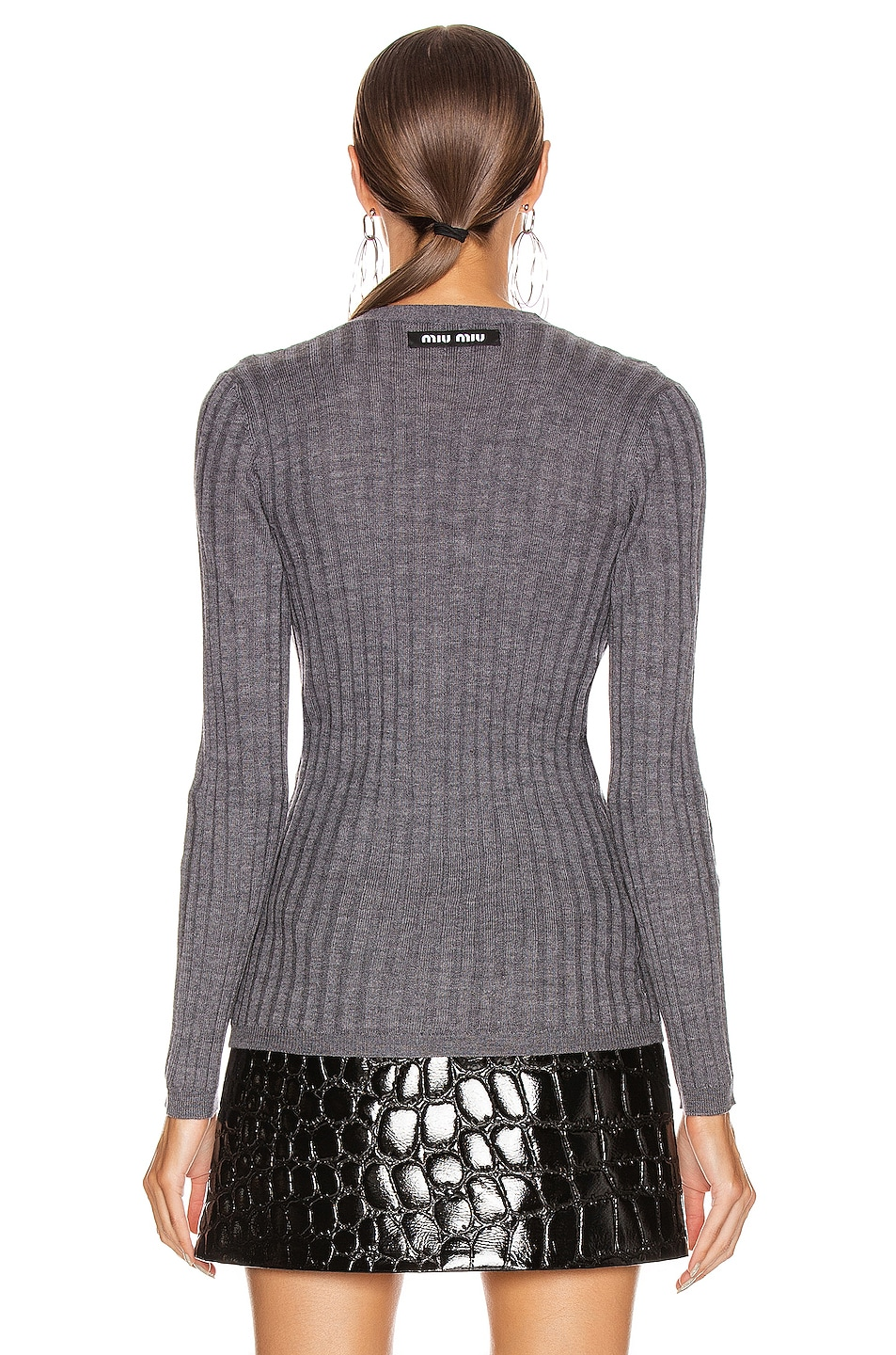 Image 4 of Miu Miu Long Sleeve Top in Ardesia