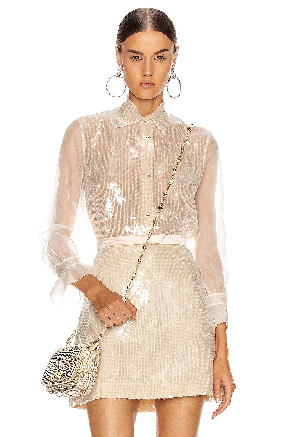 Image 1 of Miu Miu Sequin Long Sleeve Blouse in White