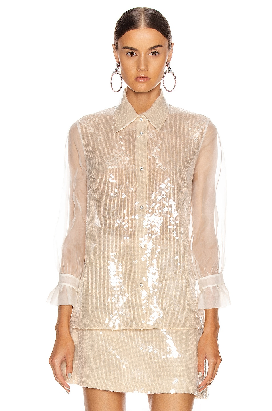Image 2 of Miu Miu Sequin Long Sleeve Blouse in White