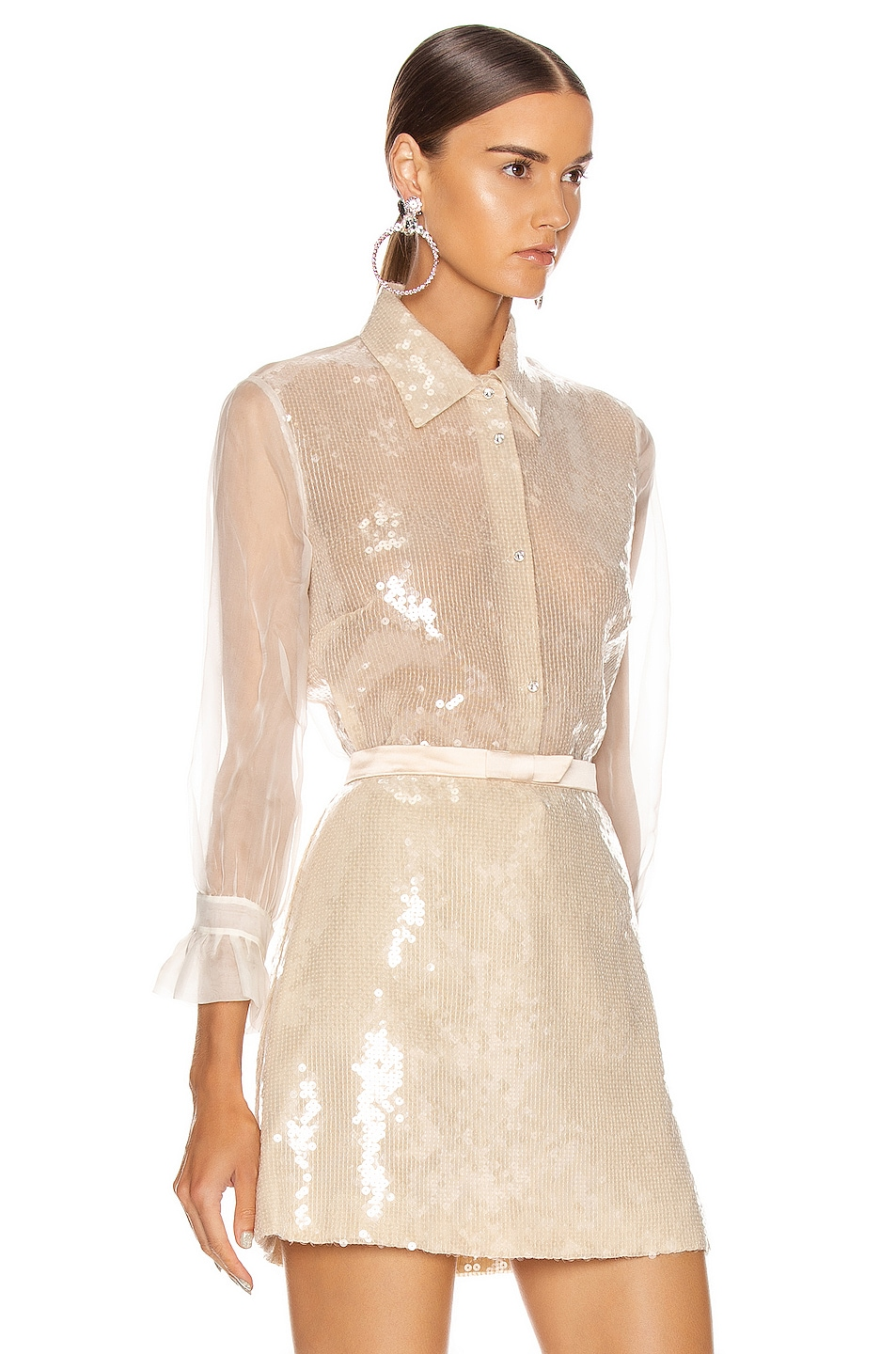 Image 3 of Miu Miu Sequin Long Sleeve Blouse in White