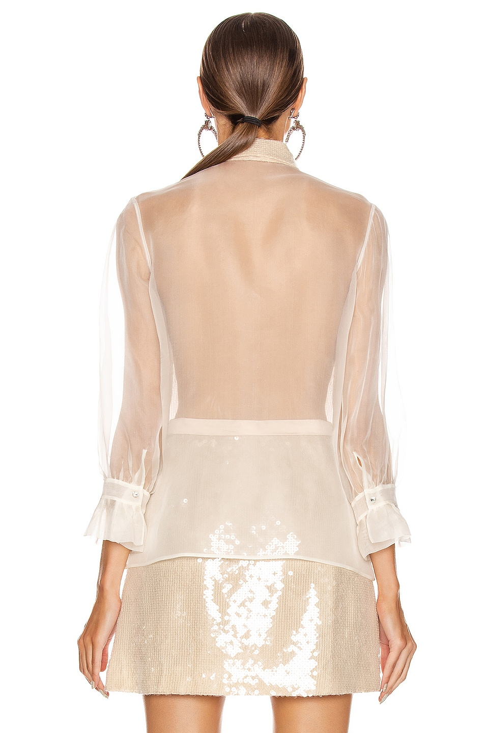 Image 4 of Miu Miu Sequin Long Sleeve Blouse in White