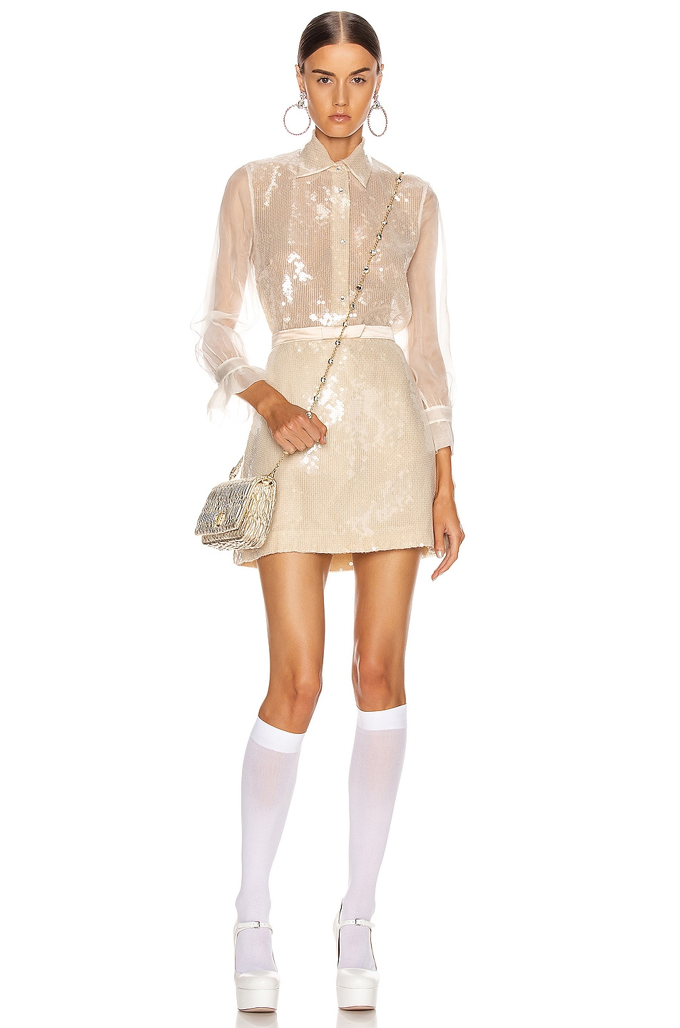 Image 5 of Miu Miu Sequin Long Sleeve Blouse in White