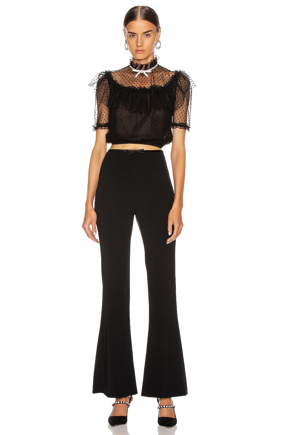 Image 4 of Miu Miu Tulle Crop Blouse in Black