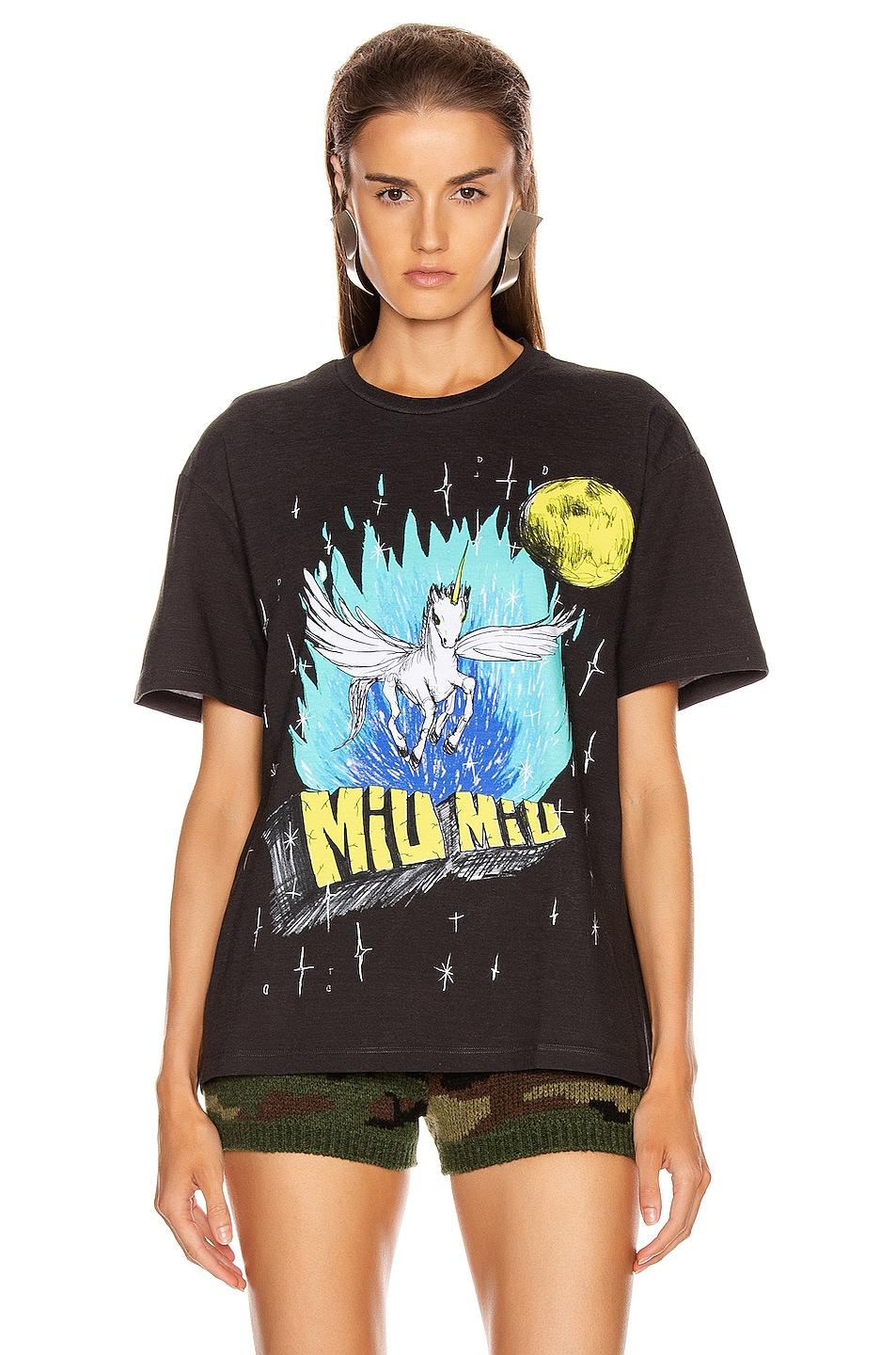 Image 2 of Miu Miu Logo Unicorn T Shirt in Black