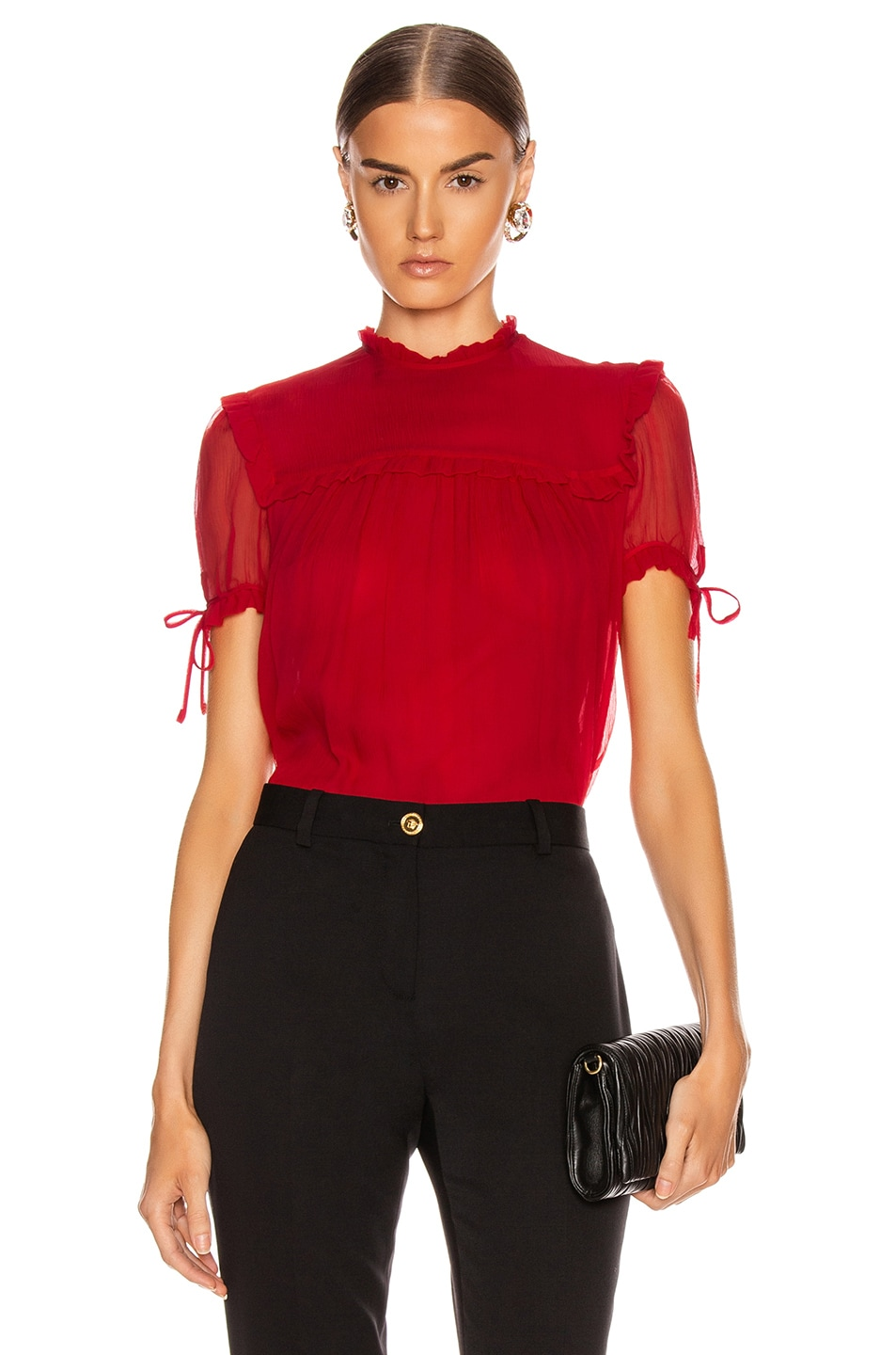Image 1 of Miu Miu Short Sleeve Chiffon Top in Red