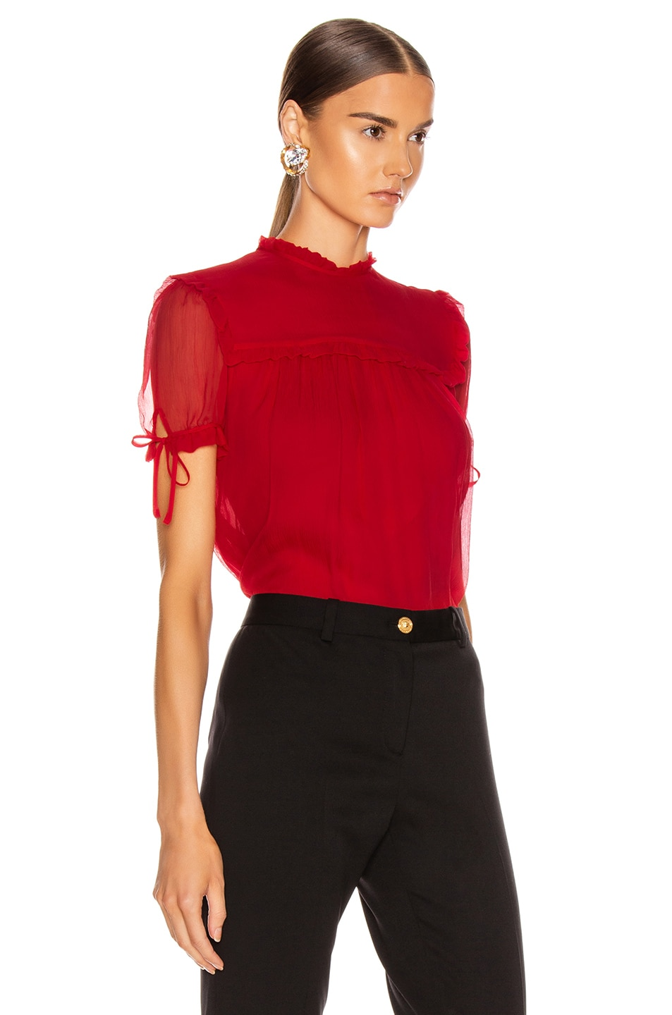 Image 3 of Miu Miu Short Sleeve Chiffon Top in Red