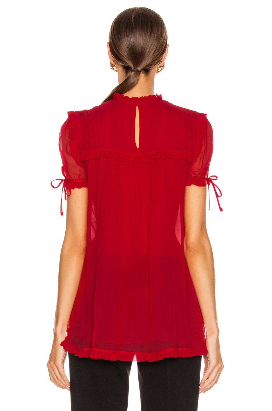Image 4 of Miu Miu Short Sleeve Chiffon Top in Red