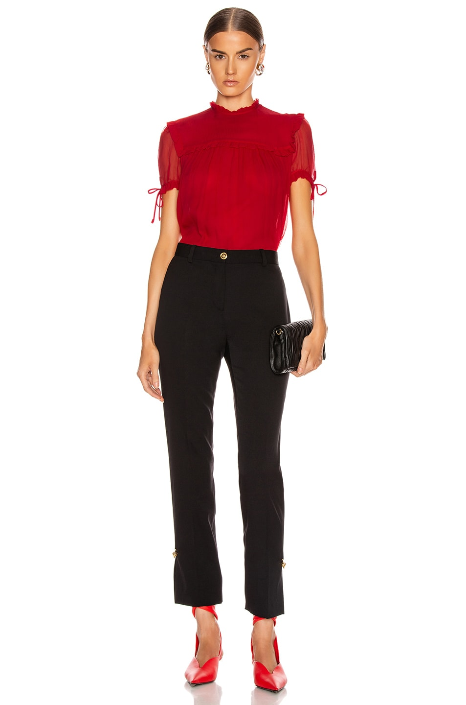 Image 5 of Miu Miu Short Sleeve Chiffon Top in Red