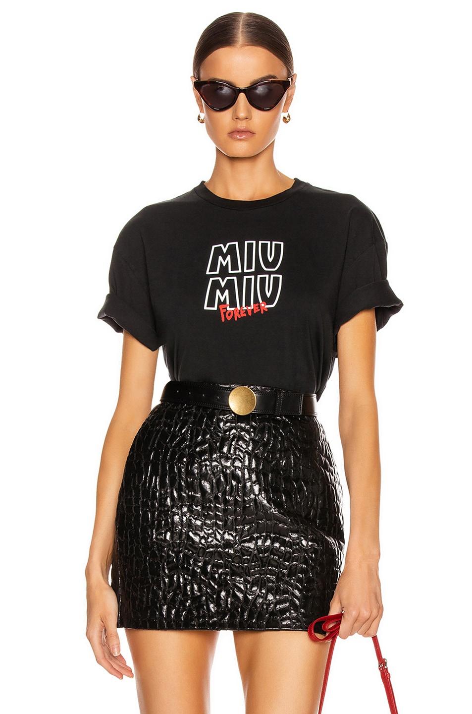 Image 1 of Miu Miu Logo T Shirt in Black