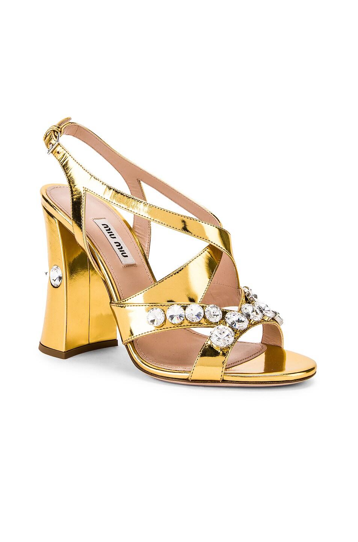 Image 2 of Miu Miu Jeweled Sandals in Gold