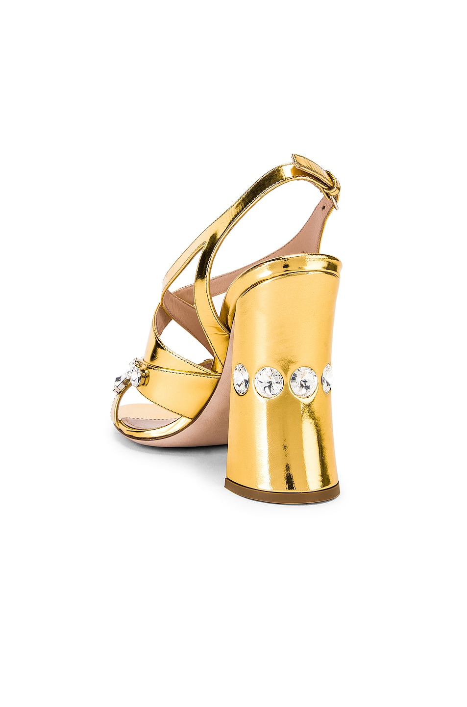 Image 3 of Miu Miu Jeweled Sandals in Gold