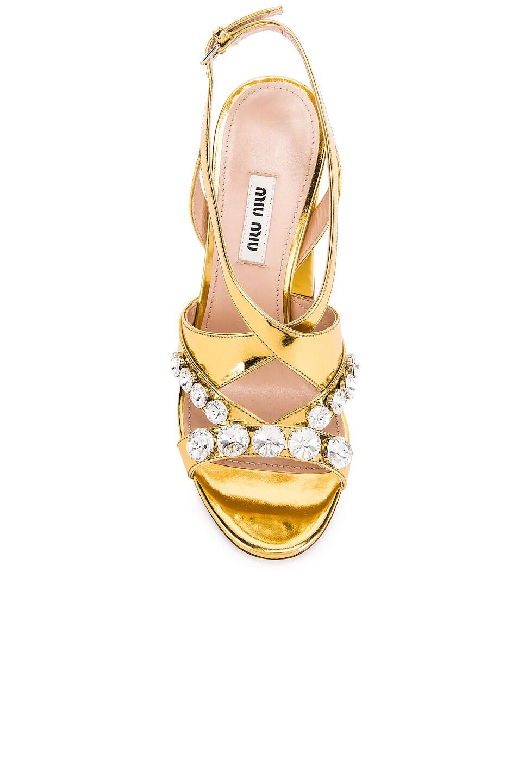 Image 4 of Miu Miu Jeweled Sandals in Gold