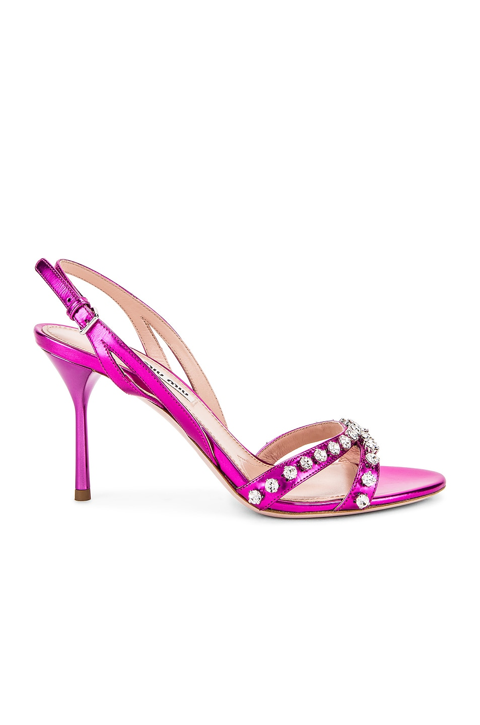 Image 1 of Miu Miu Jeweled Slingback Sandals in Fuchsia