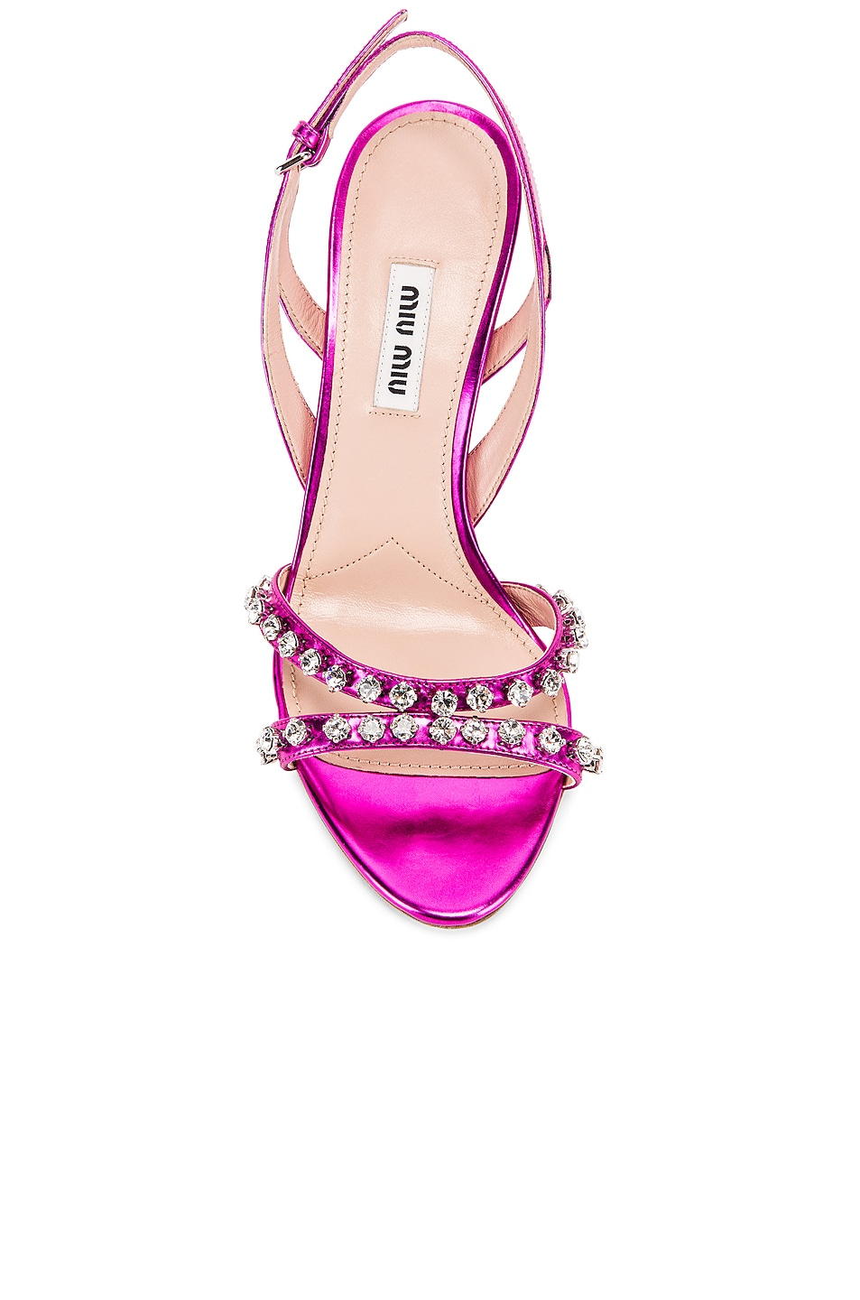 Image 4 of Miu Miu Jeweled Slingback Sandals in Fuchsia