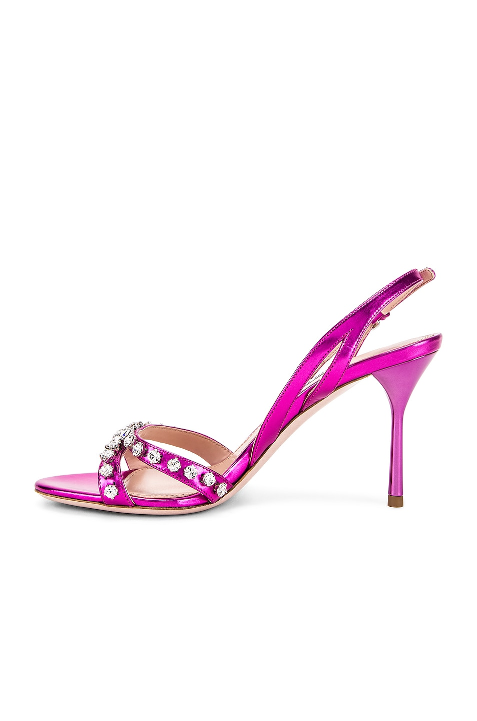 Image 5 of Miu Miu Jeweled Slingback Sandals in Fuchsia