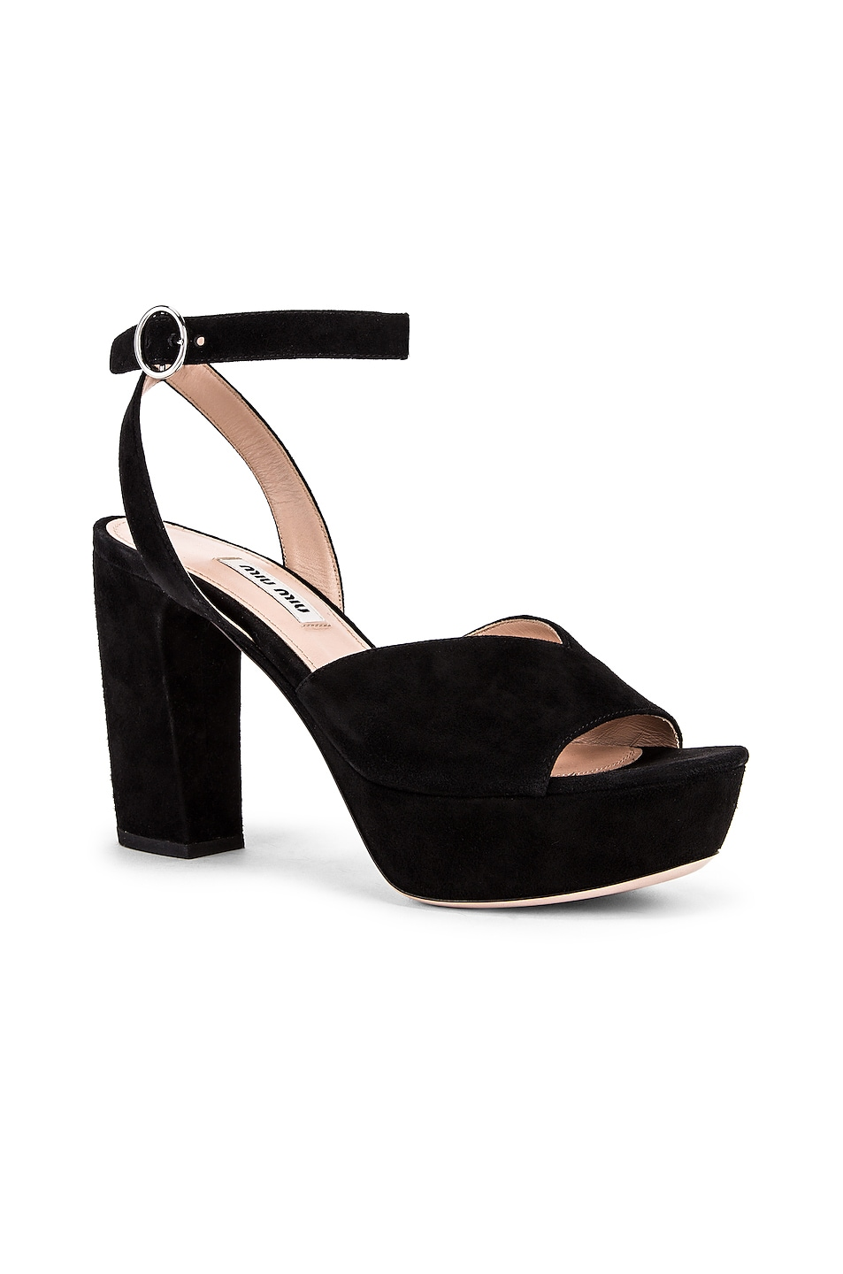 Image 2 of Miu Miu Platform Ankle Strap Sandals in Black