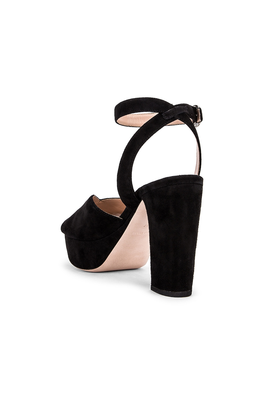 Image 3 of Miu Miu Platform Ankle Strap Sandals in Black