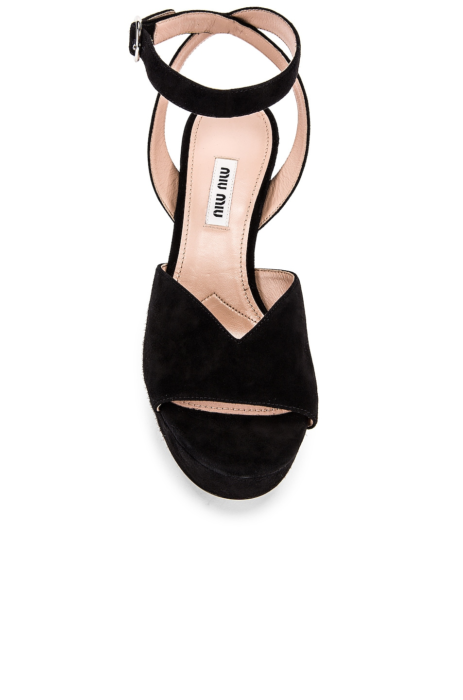 Image 4 of Miu Miu Platform Ankle Strap Sandals in Black