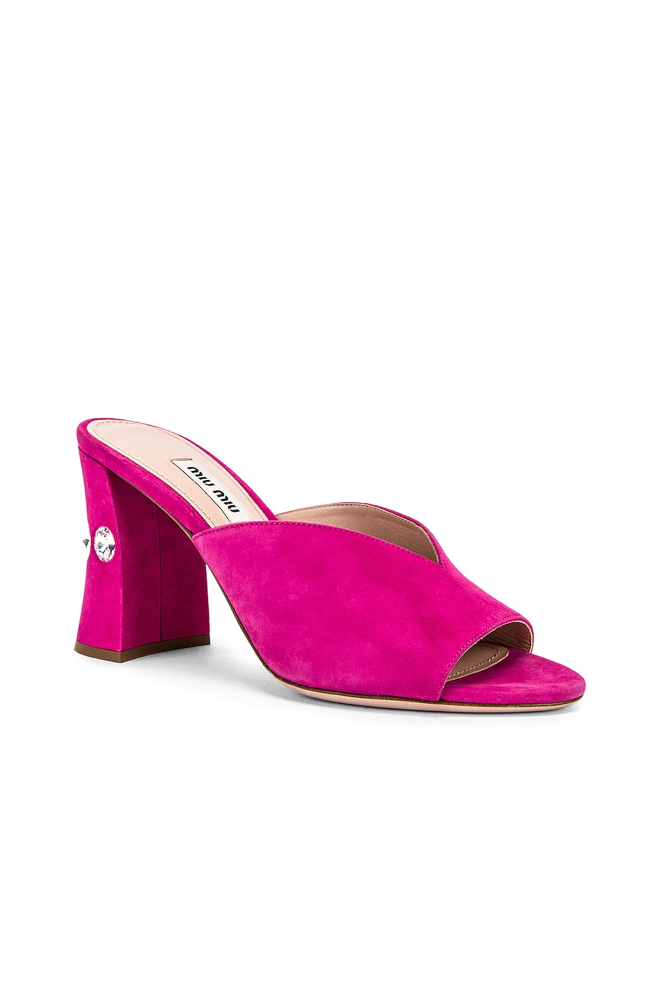 Image 2 of Miu Miu Jeweled Mules in Pink