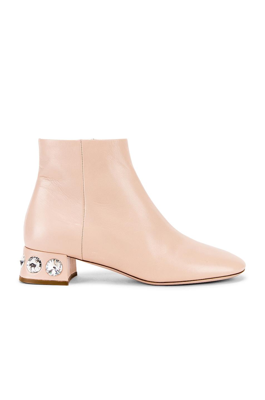 Image 1 of Miu Miu Jeweled Ankle Boots in Nude