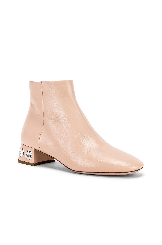 Image 2 of Miu Miu Jeweled Ankle Boots in Nude