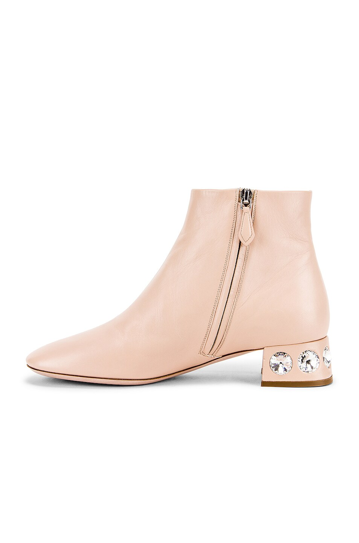 Image 5 of Miu Miu Jeweled Ankle Boots in Nude