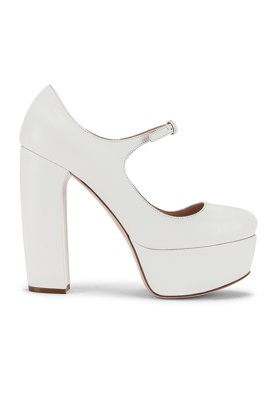 Image 1 of Miu Miu Plain Mary Jane Platform Heels in White