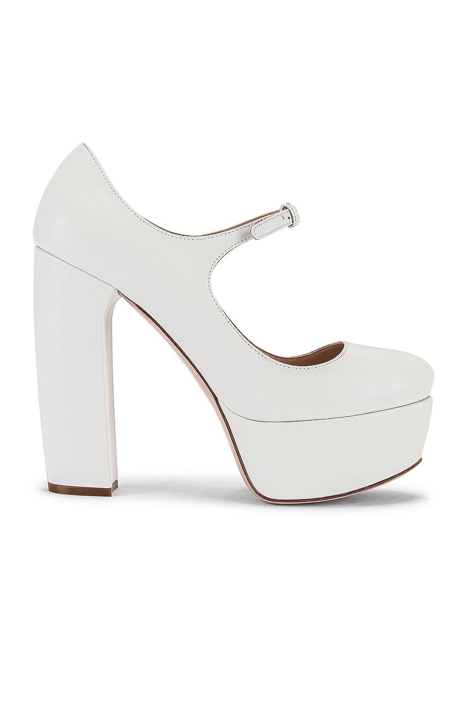 Image 1 of Miu Miu Plain Mary Jane Platform Heels in White